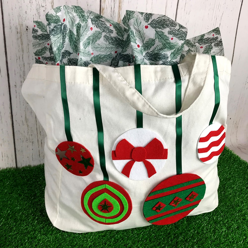 Christmas canvas bag decorated with Christmas baubles