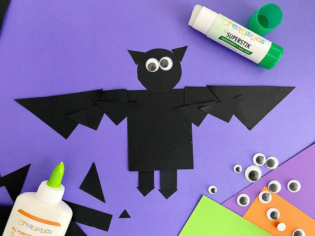 frightful bat paper craft project with google eyes and gluesticks