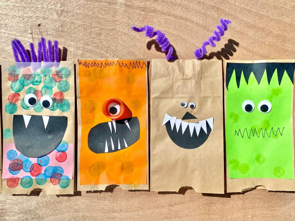 Spooky bag monster craft project