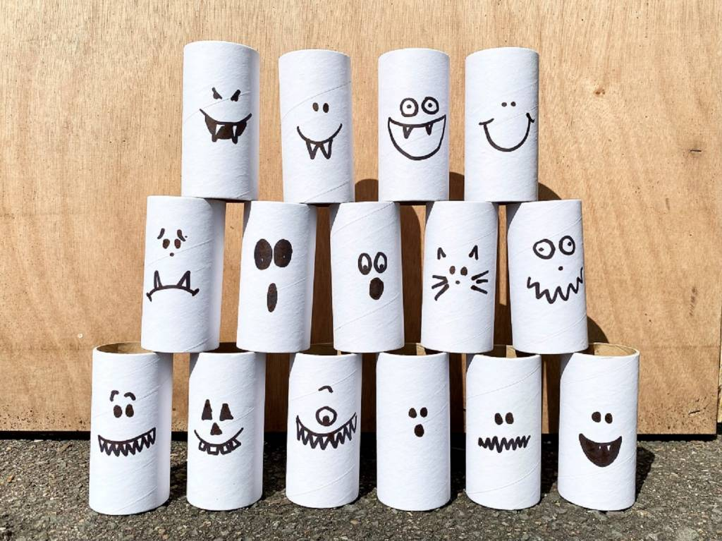 Spooky Fairground Bowling craft project using cardboard rolls